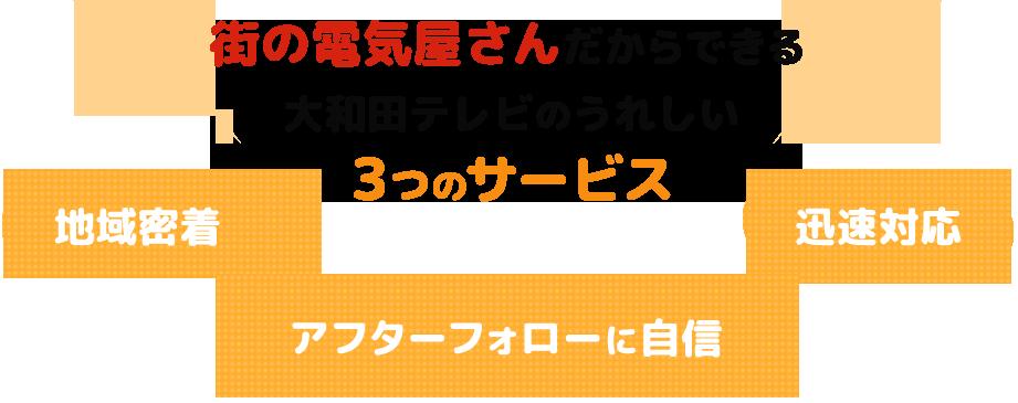 街の電気屋さんだからできる 大和田テレビのうれしい 3つのサービス